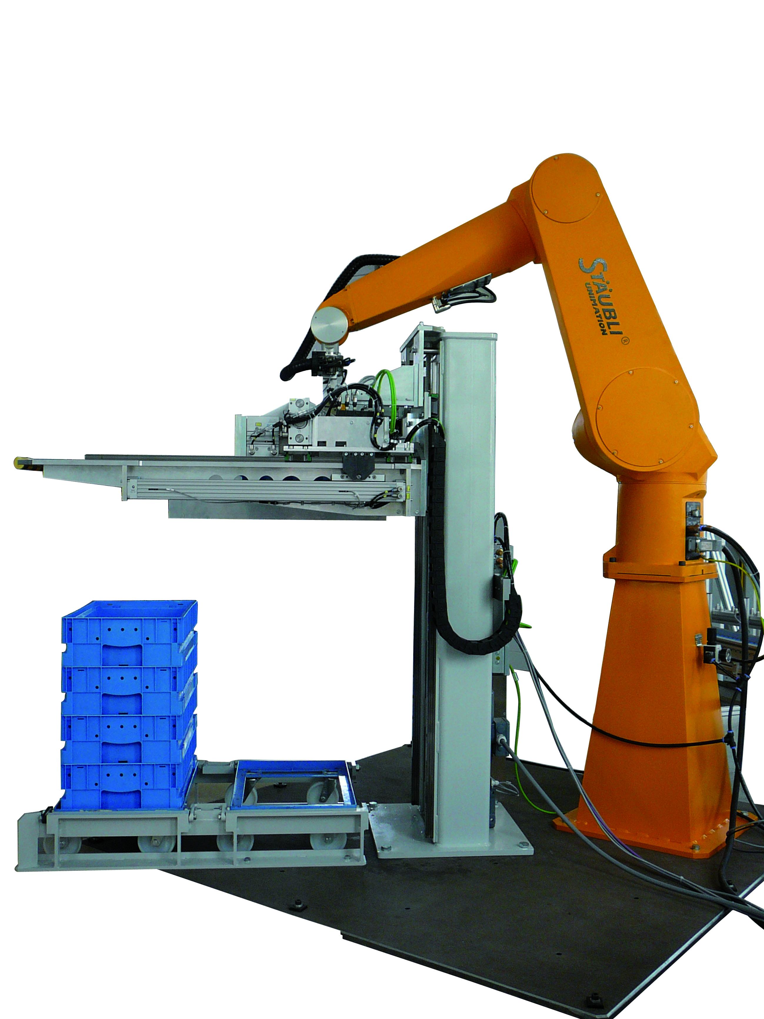 Kistenhubgerät Roboterbeschickung